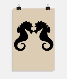 chevaux mer baiser noir