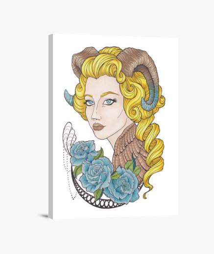 Lienzo chica con cuernos y rosas azules