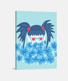 chica geek pelo azul y flores