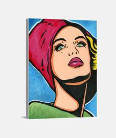 Chica vintage con gorro rojo Pop ART by Cristina Galvez