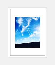 Cielo Azul - Cuadro con marco blanco vertical 3:4 (15 x 20 cm)