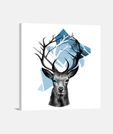 ciervo, árbol y triángulos