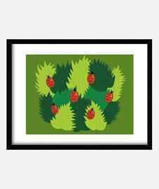 coccinelle e foglie verdi in spring time
