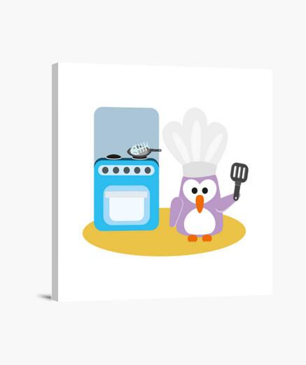 Lienzo cocinero del pingüino