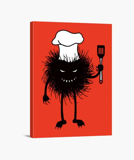 Lienzo cocinero divertido insecto mal le encanta cocinar