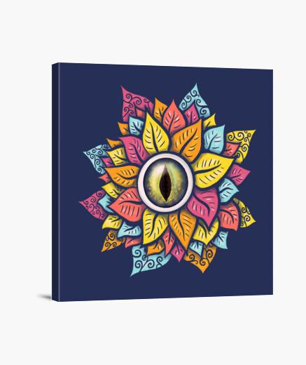 Lienzo colorido reptil ojo flor raro oscuro