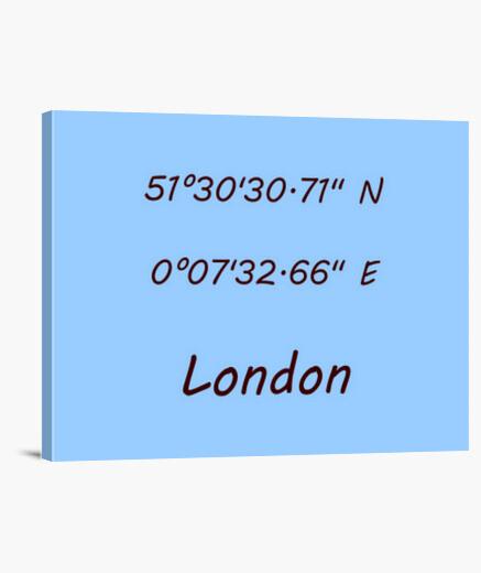 Lienzo Coordenadas London 4:3 - (40 x 30 cm)