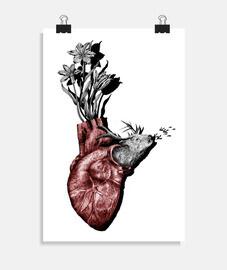 Corazón animal, ciervo y flores