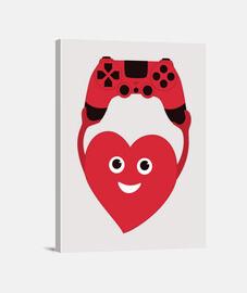 corazón de jugador con el gamepad
