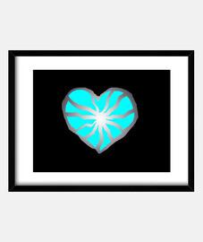 Corazón roto, corazón azul.. Cuadro con marco horizontal 4:3 (40 x 30 cm)