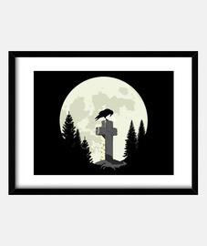 corbeau sur une croix au clair de lune