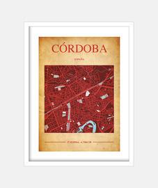Córdoba Map - Cuadro con marco blanco vertical 3:4 (15 x 20 cm)