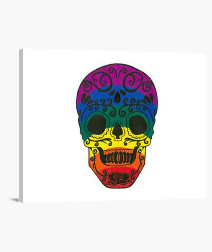 Lienzo cráneo del azúcar del arco iris