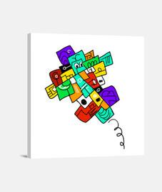 crazy piano. tela cuadrato 1: 1 - (40 x 40 cm)