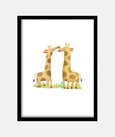 Cuadro animales jirafa habitación niños