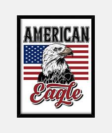 Cuadro Bandera Americana con Águila