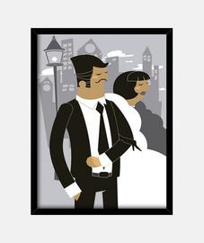 Cuadro Casados Casada Casado Retro