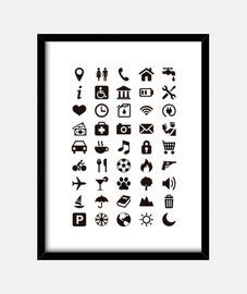 Cuadro con Iconos  Viaje - Turismo - Comunicación