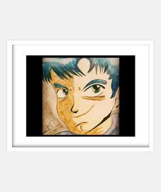 Cuadro con marco blanco horizontal  Manga boy