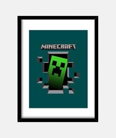 Cuadro con marco de minecraft fondo azul
