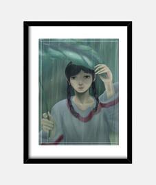Cuadro con marco negro lluvia triste