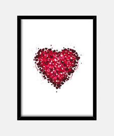 Cuadro con marco negro vertical san valentin