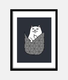 Cuadro con marco vertical Gato-Bolsillo