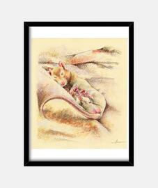 Cuadro con ratón durmiendo (15 x 20 cm)