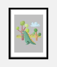 Cuadro dinosaurio - decoración habitación niños