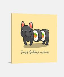 Cuadro divertido perro sushi