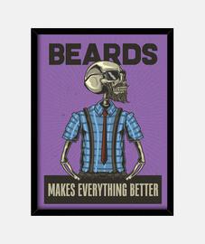 Cuadro Hipster Retro Beard Hipsters Vintage Skull