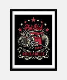 Cuadro Hotrod Rockabilly Music Vintage Car USA Rock