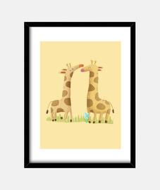 Cuadro jirafas - decoración habitación recién nacido
