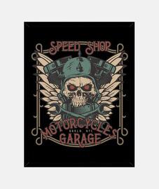 Cuadro Retro Bikers Skull Vintage Garage Motorcycles