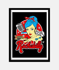 Cuadro Retro Rock Rockabilly Music Vintage Pinup 50s 60s Retro Rock and Roll Rockers