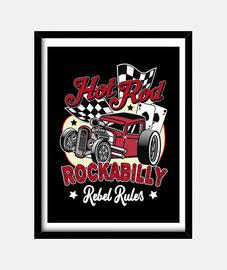 Cuadro Rockabilly Retro Hotrod Rockers USA