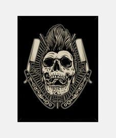Cuadro Rockabilly Skull Psychobilly Rockers Retro Bikers USA Rock Music