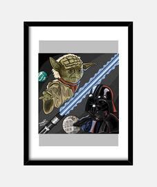 Cuadro Star Wars:Yoda y Drath Vader (30 x 40 cm)