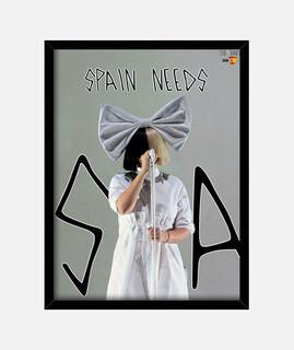 Cuadro vertical enmarcado con vidrio | SpainNeedsSia