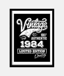 Cuadro Vintage 1984 Idea Regalo Cumpleaños Limited Edition