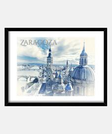Cuadro Zaragoza con marco horizontal 4:3 (40 x 30 cm)