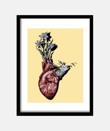 cuore di animale, cervi e fiori