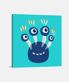 cute blue four eyed monster