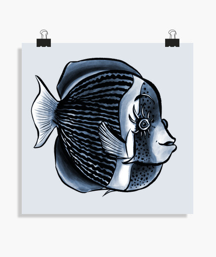 Cute Fish Eyelashes Tropical Angelfish poster