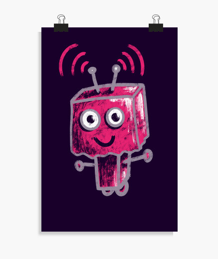 Cute Pink Robot With Paper Bag Head poster