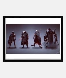 Cyberpunk Characters   Cuadro con marco negro horizontal 4:3 (20 x 15 cm)
