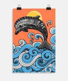 delfino che salta in stile mandala ocea