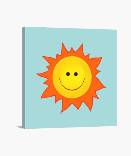 Tableau dessin animé souriant soleil heureux