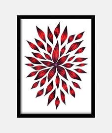 dessin de doodle fleur rouge abstrait
