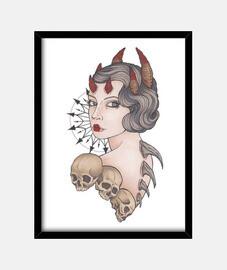 diable avec des cornes et des crânes